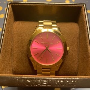 Michael Kors gold watch with pink face - mk3264